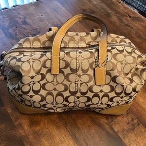 Coach khaki signature satchel